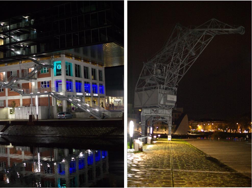 Strasbourg, strasbourg nuit; strasbourg nocturne; jeux de lumière, rivetoile, grue