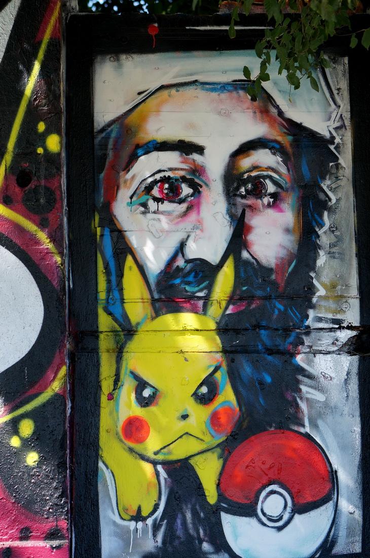 la rochelle, vieux port, le gabut, street art, graffiti, pikachu