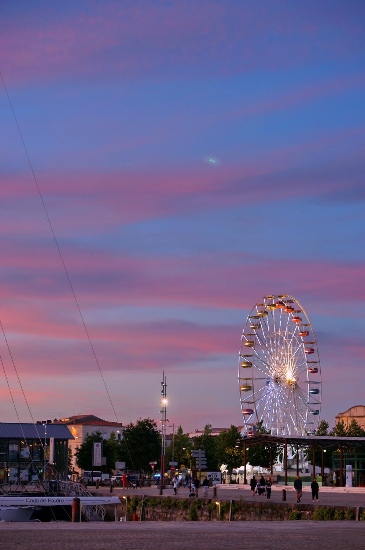 coucher de soleil, sunset, reflections, reflets, la rochelle, vieux-port, grande roue
