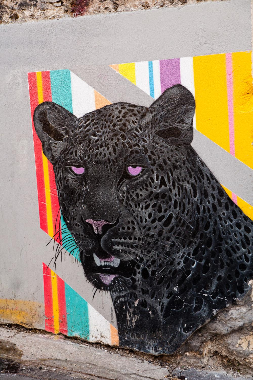 street art paris, street art mosko, panthère noire mosko, rue du retrait paris, rue du retrait