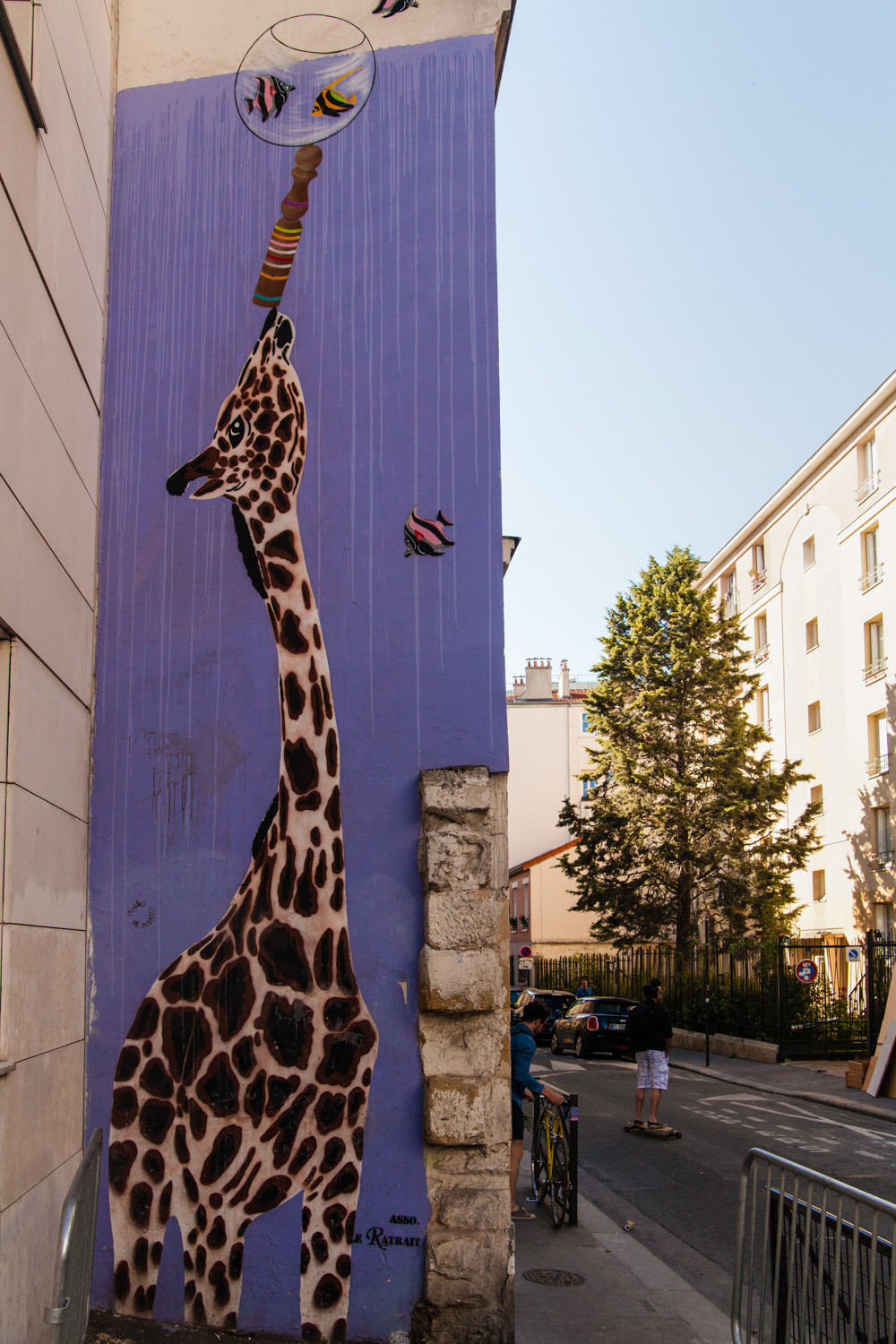 street art paris, street art mosko, girafe mosko, rue du retrait paris, rue du retrait