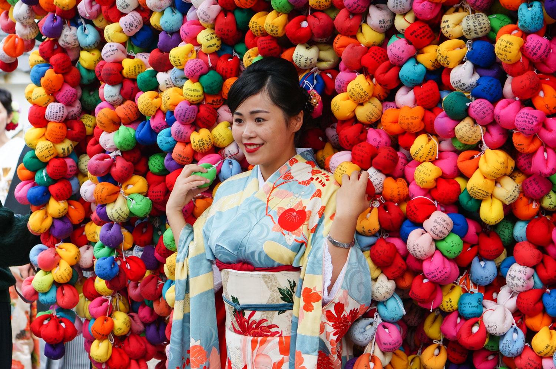 temple Yasaka Koshindo, Yasaka Koshindo kyoto, temple boules multicolores, temple pompons kyoto
